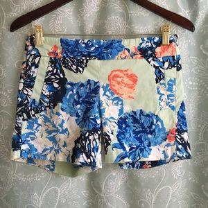 J Crew 0 Mint Floral Shorts Cotton Stretch Pockets